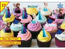54 Disney Frozen Elsa Anna Birthday Cup Cake Edible Wafer Rice Toppers Stand up