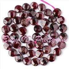 8MM FACETED COIN GARNET GEMSTONE NATURAL STONE SPACER LOOSE BEADS STRAND 15""