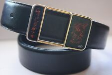 VG+ LUXURY S.T. DUPONT PARIS HERITAGE SOLITARE BOX LACQUERED BUCKLED DRESS BELT