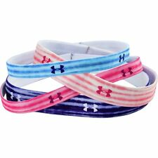 4 Pk Under Armour Graphic Elastic Headbands Pink Shock/After Glow/Blue/Purple **