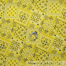 BonEful Fabric FQ Cotton Quilt Yellow John Deere Cowboy Paisley Bandana S Flower