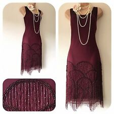 New Roman Embellished Fringe Tassel Gatsby 20's Beaded Flapper Dress in 14 Deco