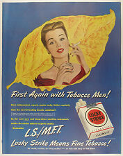 Vintage 1947 LUCKY STRIKE CIGARETTES Full Page Magazine Print Ad: L.S/.M.F.T.