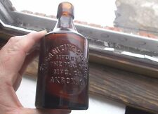 AKRON,OHIO VULCANIZING SOLUTION HAND BLOWN AMBER BOTTLE