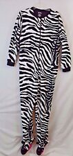 Womens L Nick Nora Zebra footed pajamas one piece footie fleece Large