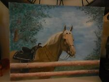 Oil on Art Board Painting of Saddled Horse behind fenc signed G. W. Weller 19716