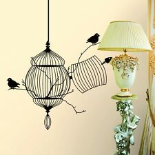 Black Birdcage Bird Removable Wall Sticker Home Decor Vinyl Wall Room Art Mural