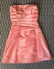 B2 S. 6 Persimmon Pink Taffeta Strapless Cocktail Cruise Prom Bride's Maid Dress
