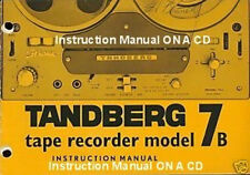 Tandberg Model 7B Reel To Reel Owners Manuals On A Cd
