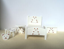 Dolls House Furniture:   White Teddy Bear  Nursery Furniture Set      12th scale