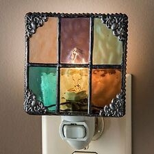 J Devlin NTL 165 Multi Colored Stained Glass Night Light Peach Purple Green