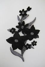 "#3819B 4-1/2"" Black,Grey,Silver Wild Flower Embroidery Iron On Appliqué Patch"