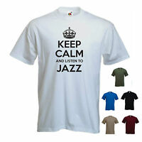 'Keep Calm and Listen to Jazz' Soul Blues Funk R&B Rock T-shirt Tee Gift