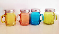 Colored  Shot Mason Jar with handle & Silver Lid (set of 4)/Shot Glass set