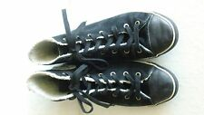 Ladies Black Suede Chuck Taylor All Star Converse Lined High Top Sneakers 7.5