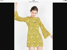 ZARA NEW FLORAL PRINTED YELLOW SHORT DRESS SIZE M