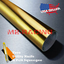 "*12""x48"" Chrome Gold Brushed Aluminum Wrap Decal Wallpaper Sticker Film 8083H"