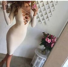 Cream Lace Up Front Dress