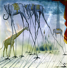 Salvador Dali Elephants Reproduction of painting 12X12 canvas print poster