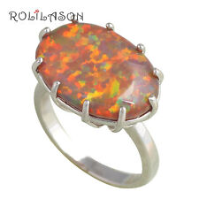 OR610#10 Prom Rings for Women Orange Fire Opal Silver Stamped Fashion