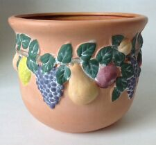 Norcal Pottery Embossed Fruit Jardiniere Planter Pot Sandwash Vintage Look 7.5""