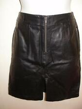 VS2 by Vacco Leather Black A-line Mini Skirt with Front Slit & Zippers Size 10