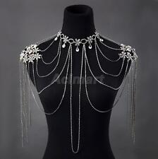Silver Crystal Choker Necklace Shoulder Chain Earring Wedding Bridal Jewelry