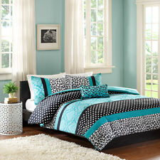 Turquoise & Black Polka Dot Leopard Twin Comforter, Sham & Toss Pillow 3 PC Set