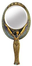 POLY RESIN AND CAST GOLDEN EGYPTIAN HAND MIRROR MAAT  -24cm(H) x 12cm(W)