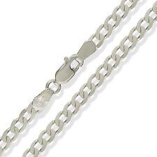 """Plata esterlina 925 22"""" 4MM Solid Plano Diamante Corte Bordillo Enlace Cadena Collar"""