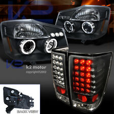 Black Halo Projector Headlights+LED Tail Lamps Combo For 04-13 Nissan Titan