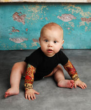 TotTude Baby Tattoo Sleeve Shirt Onesie Black Mom Heart Tattoo Sleeve Newborn