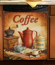 "Vintage Coffee Kitchen Magnetic Dishwasher Cover 23"" x 26"" Appliance Home Decor"