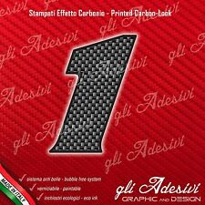 Adesivo Stickers NUMERO 1 moto auto cross gara Carbon Effect Back 10 cm