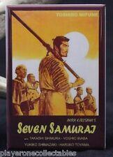 """Seven Samurai Movie Poster 2"""" X 3"""" Fridge Magnet. Toshiro Mifune Akira Kurosawa"""