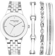 NEW! Anne Klein New York Women's SILVER Tone Watch and Bracelet Set 12/2243SVST