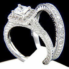 New 2 PC Womans 1.21 CT Sterling Silver Engagement Wedding Bridal Band Ring Set