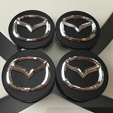 NEW MAZDA (SET OF 4) 56mm BLACK BASE CHROME LOGO WHEEL CENTER CAPS WC4PC580