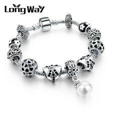 Silver Glass Beads Bracelet With White Crystal European Charms Fit Women D