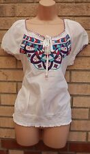 M&CO WHITE EMBROIDERED MULTI GYPSY BOHEMIAN CAMI BLOUSE  TOP T SHIRT TUNIC 14 L