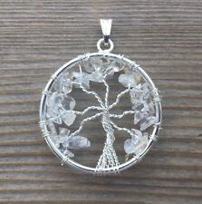 NATURAL CLEAR QUARTZ TREE OF LIFE  WIRE WRAPPED PENDANT STONE GEMSTONE
