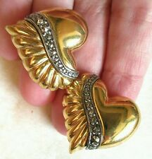#Vintage #HEART Earrings marcasite #Gold tone chunky  clip on #Fashion #jewelry