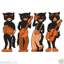 4 HALLOWEEN Party Decoration SCAT CAT BAND Vintage Beistle 1941 Reproduction