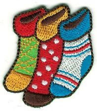 """1 3/8"""" x 1 5/8"""" Colorful Christmas Holiday Stocking Embroidery Patch"""