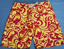 American Eagle AE Board Shorts Men's Size 36 Swimming Surfing Red Gold Floral