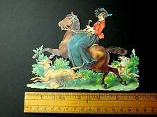 Fabulous Side Saddle Lady Fox Hunting? Dogs Colorful Victorian Die Cut Superb L3