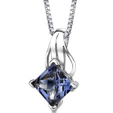 3 CT Princess Color Changing Alexandrite Sterling Silver Pendant