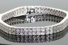 .70 CARAT MENS WHITE GOLD FINISH FANOOK DIAMOND 2 ROW LINK TENNIS BRACELET