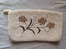 Vintage White Beaded Purse With Flowers Clutch Japan Zipper