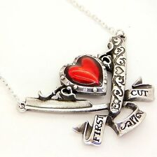 Alchemy UL17 The First Cut Razor Heart Pendant Necklace Red Enamel Crystal Pewte